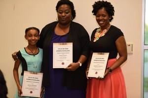 LEA Principal with teacher and student of the year