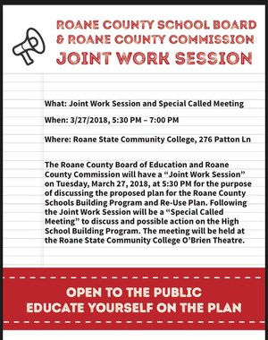 Please remember the Joint Work Session and Special Called Meeting being held tomorrow, Tuesday, March 27, 2018, beginning at 5:30 PM at Roane State in the O'Brien Theatre. For those unable to attend, we will be going live on our Facebook page during the meeting.