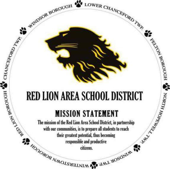 Image containing the mission of the RLASD: The mission of the Red Lion Area School District, in partnership with our communities, is to prepare all students to reach their greatest potential, thus becoming responsible and productive citizens.