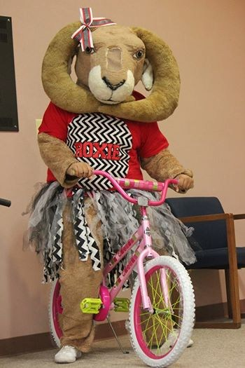 Roxie Ram at Houston Elementary with bike giveaway