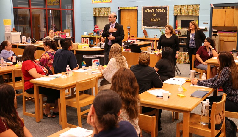 Alliance CEO speaks to teachers at Marcell Elementary School