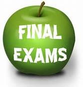 Green apple with text Final Exams.