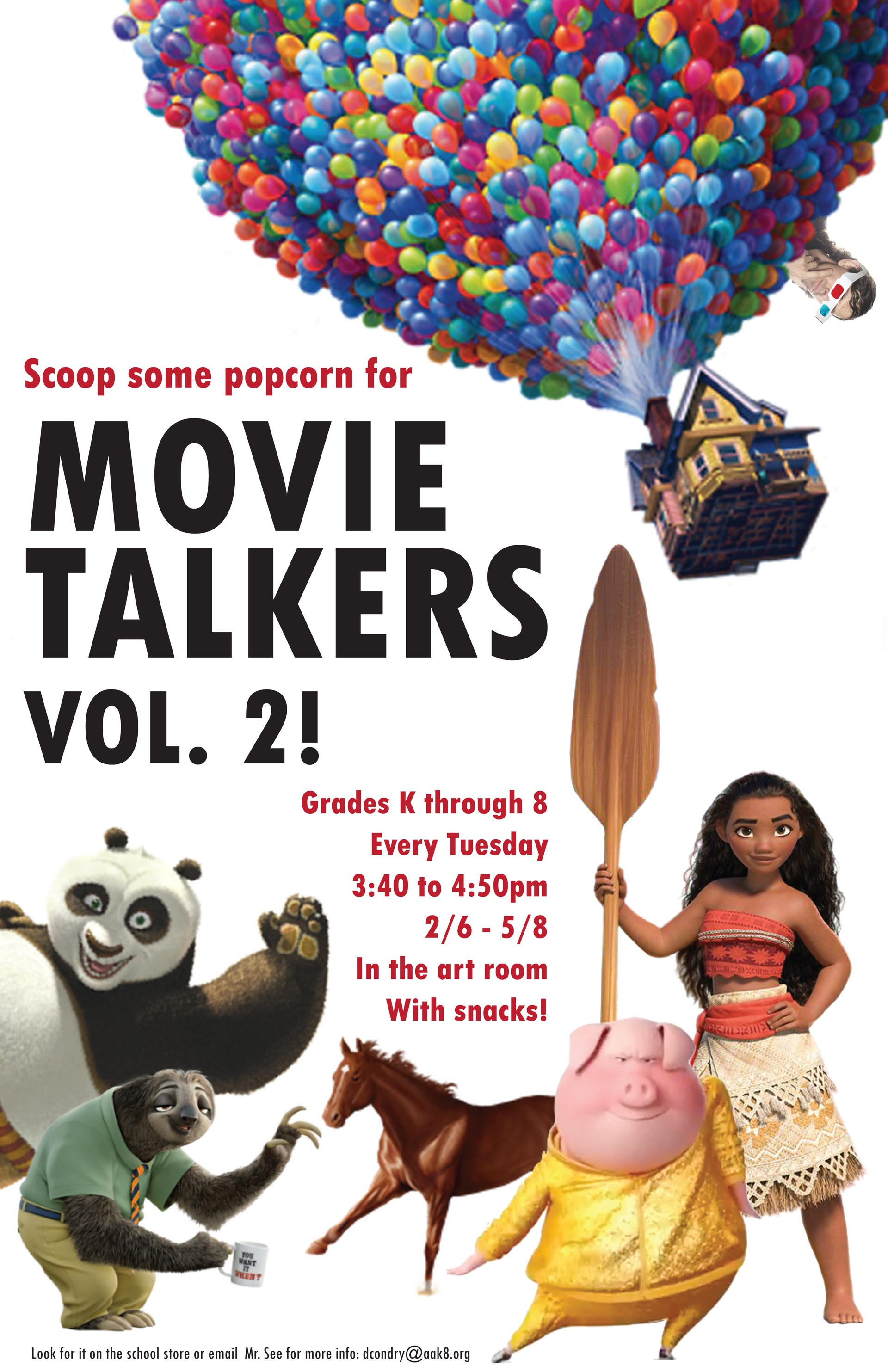 A flier informing parents that Movie Talkers Volume 2 goes from 2/6 to 5/8 -- more info on the school store