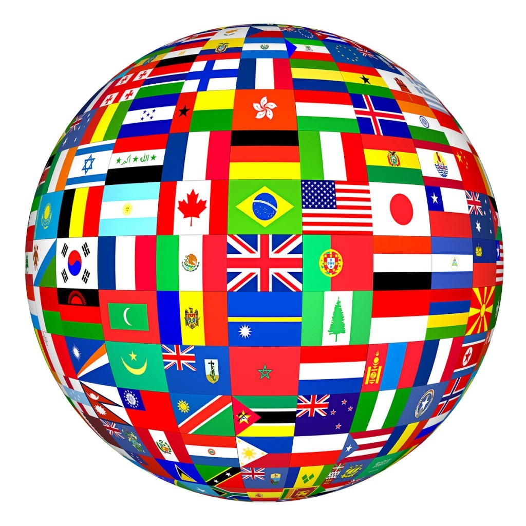 globe with nations flags