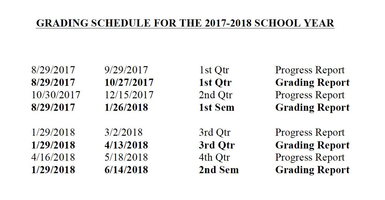 grading schedule 2017-2018