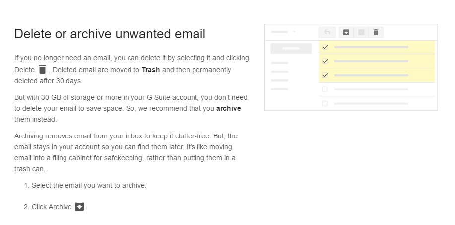 Delete or Archive Unwanted Email Screenshot