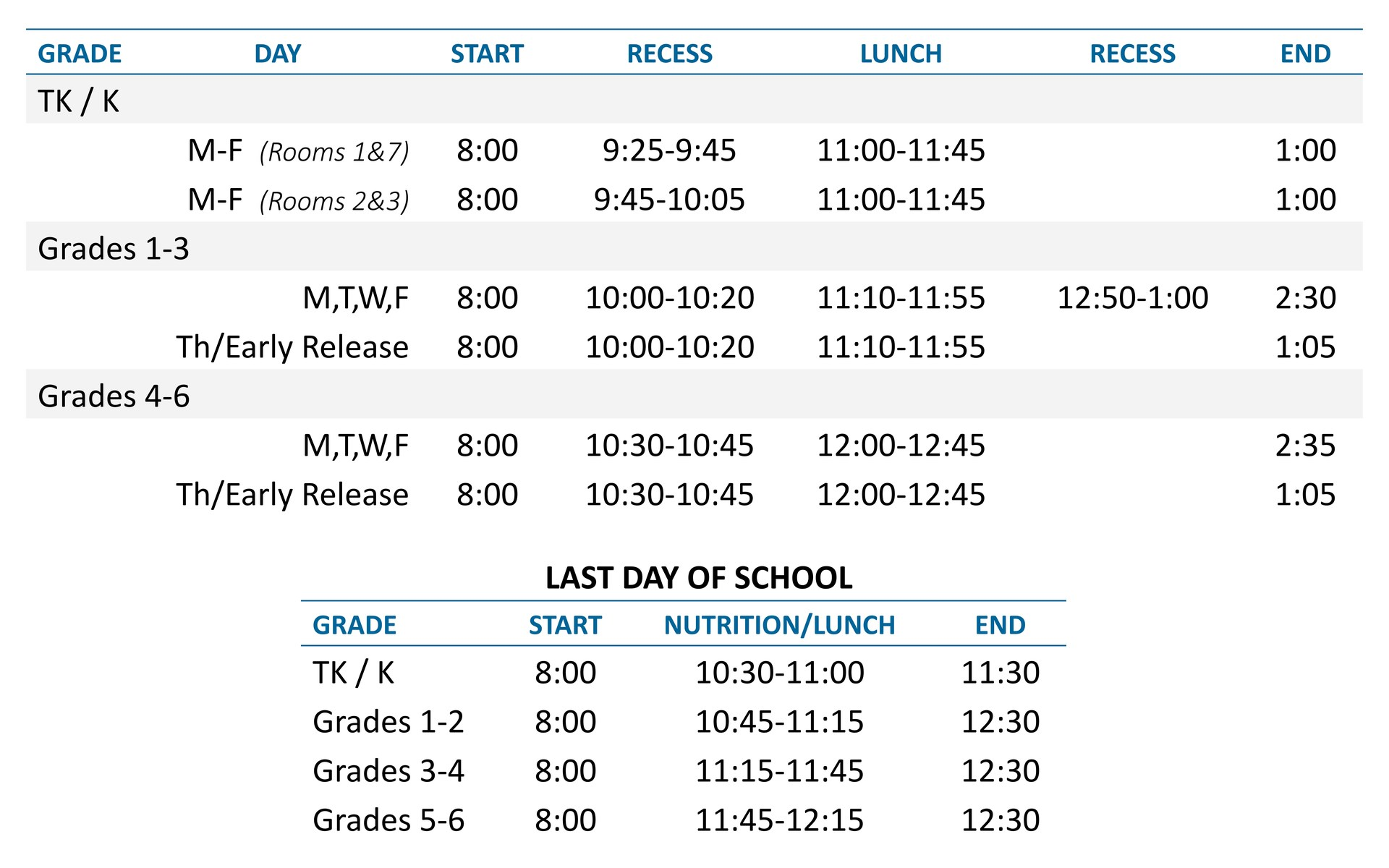 King Daily Schedule