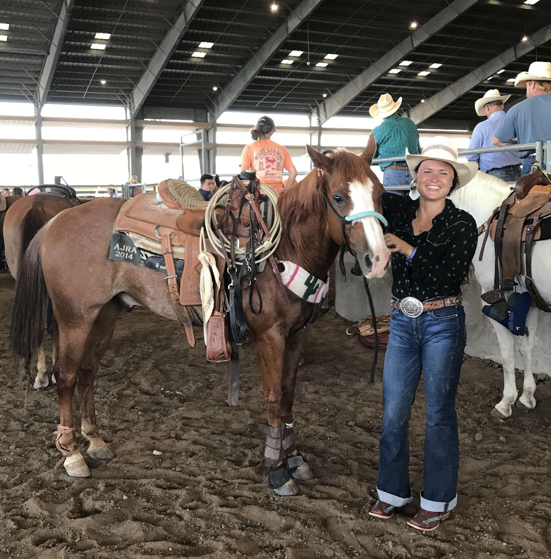 Kody Criswell and her horse at the State FFA Rodeo