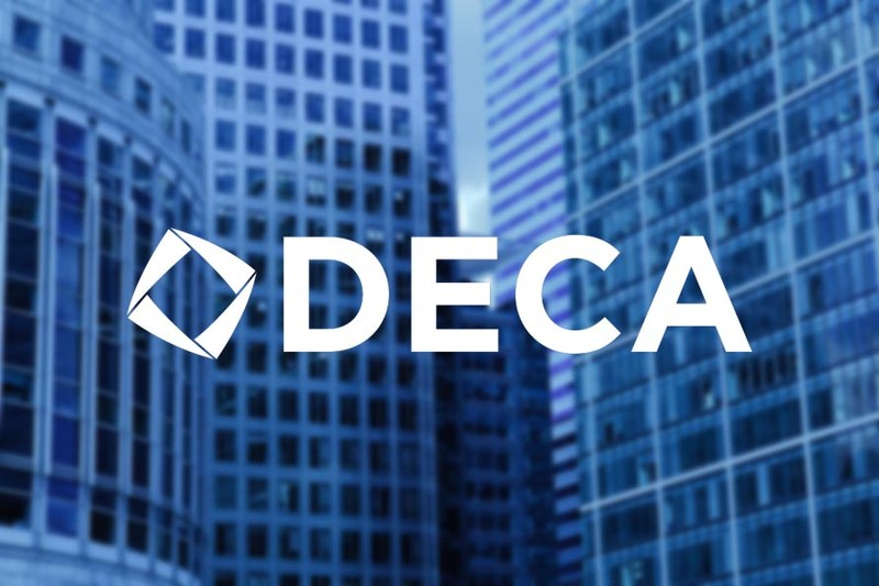 DECA logo and buildings.