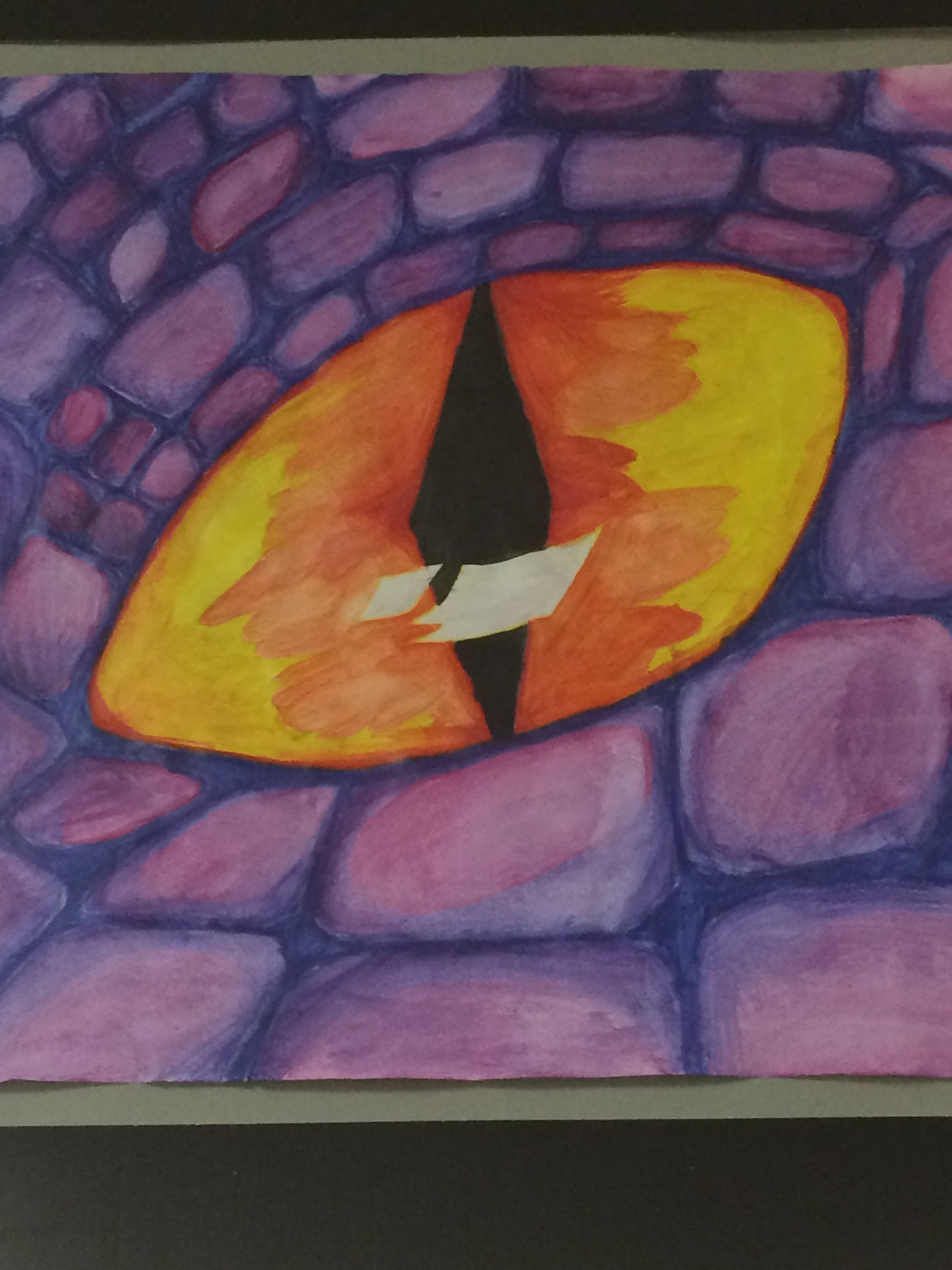 art students sketch work, dragon eye