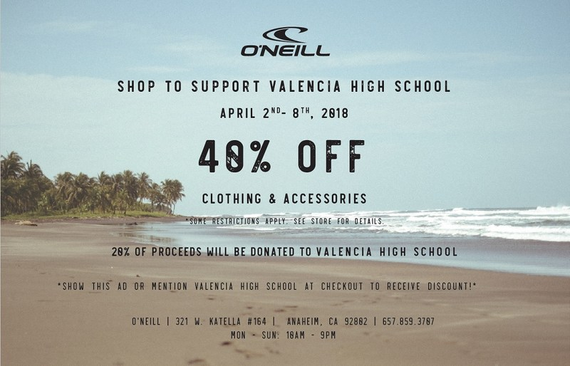 Valencia High School Fundraiser at O'Neill Store Anaheim Garden Walk April 2nd-April 8th Thumbnail Image