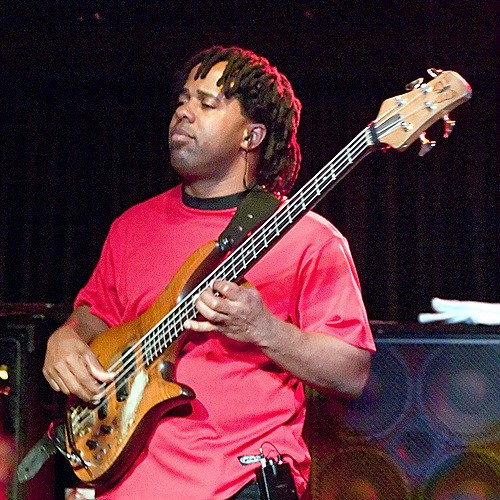 Victor Wooten playing one of his Fodera bass guitars