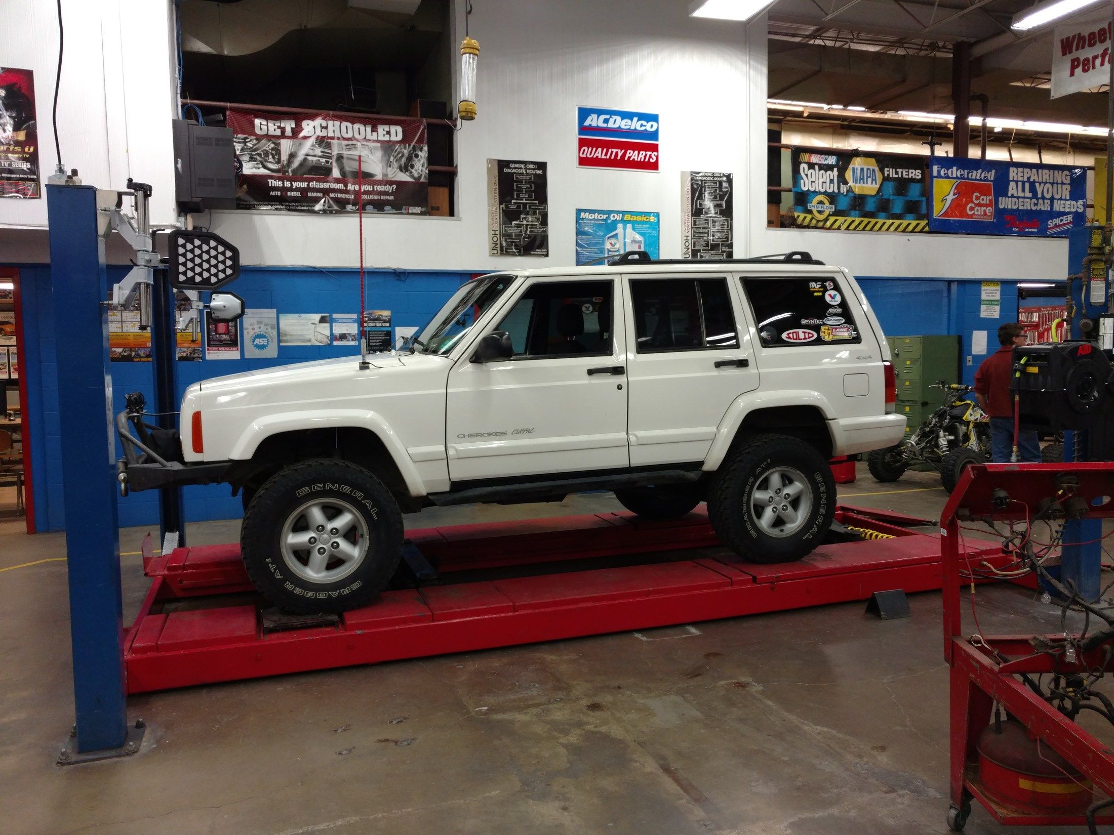 Jeep Cherokee on the Alignment Lift