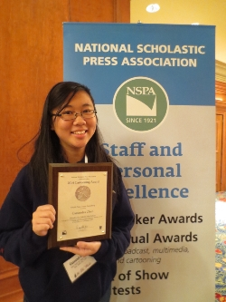Cassandra Chen places fourth in the country in the National Scholastic Press Association (NSPA) Cartooning Awards for Comic Strip/Panel and receives a plaque