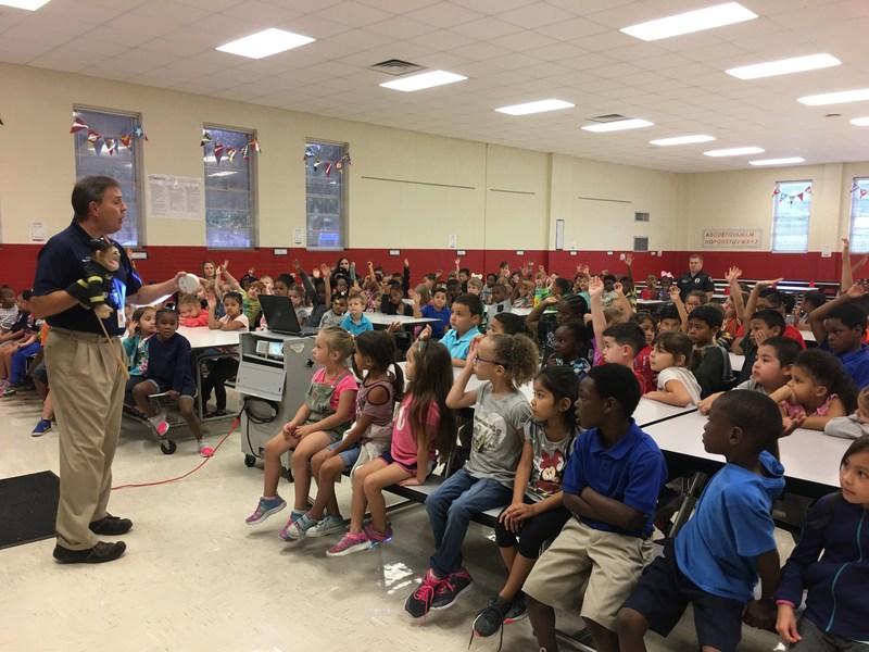 Coach Buzz & Fireman Blaze Talk about Fire Safety with Kindergarten & First Grade Students.