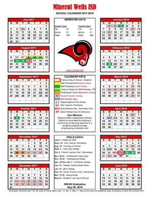 2017-18 MWISD District Calendar picture