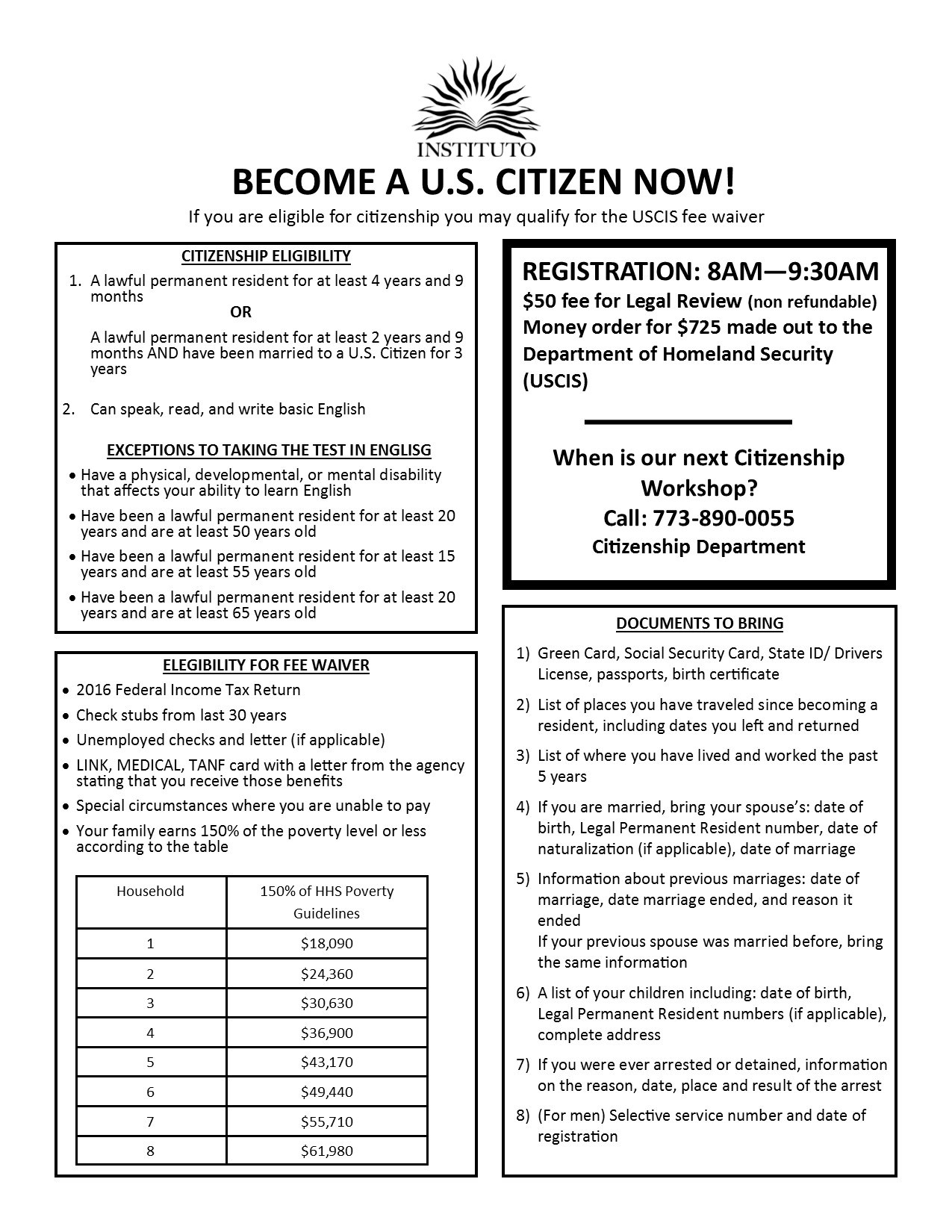 Citizenship services our programs services instituto del if you would like to know if you are eligible for immigration relief please call us at 773 890 0055 and ask for the citizenship department xflitez Choice Image
