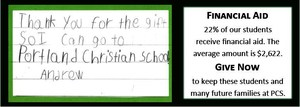 Thank you note from an elementary student and information that financial aid average amount is $2,622.
