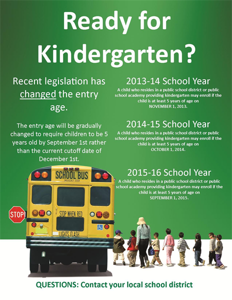 Kdg age requirements to enroll