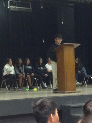 CCA 7th grader giving his 7th grade Coordinator campaign speech.