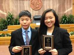 Monterey Highlands mock trial team individual winners: Andrew Hom (1st place award for courtroom journalism); Tiffany Neth (Outstanding Witness Award)
