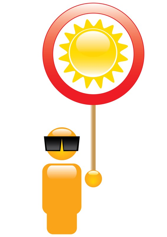 person wearing sunglasses under bright sun (graphic)