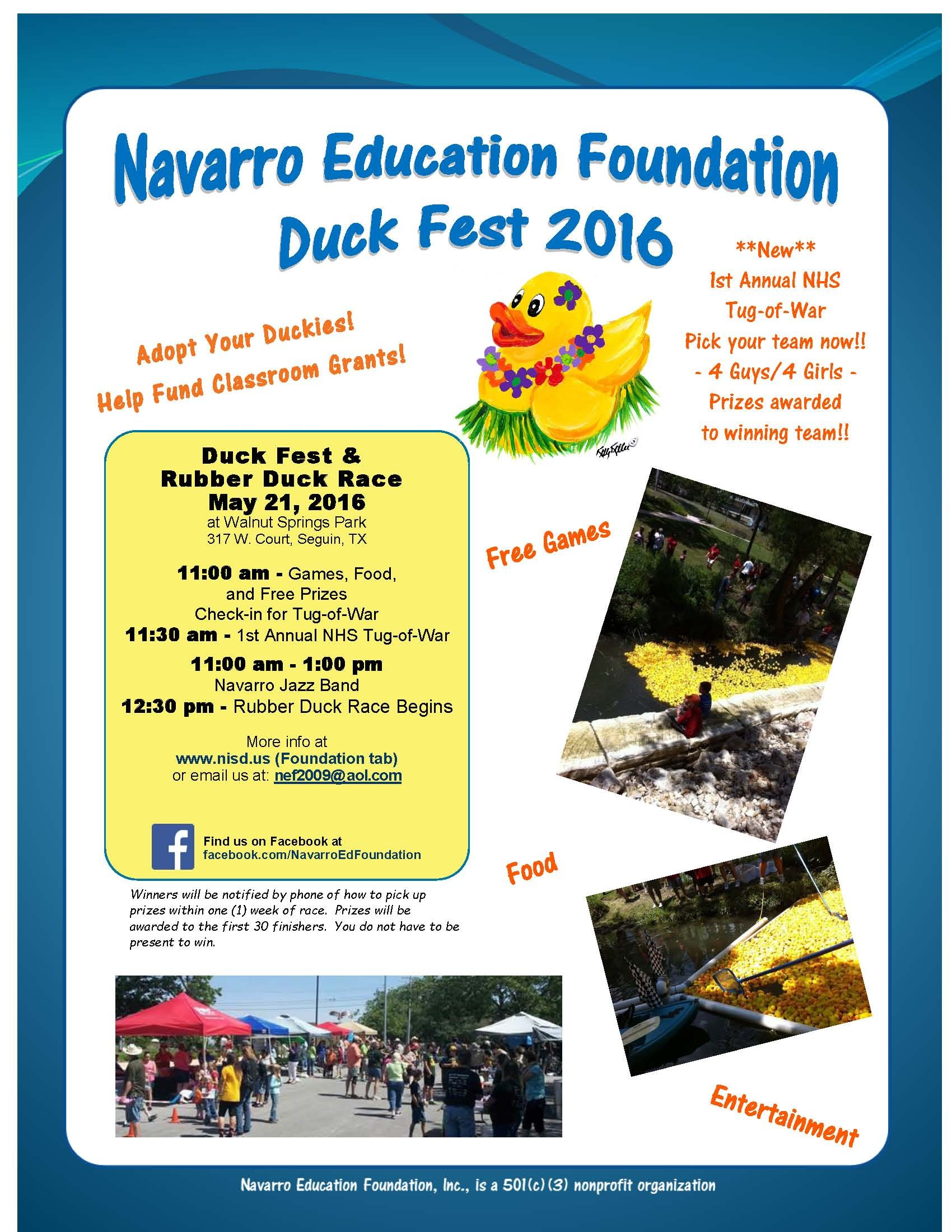 Picture of flyer advertising duck fest. Duck Fest is May 20, 2017!! 11:00 am to 1:00 pm Walnut Springs Park in Downtown Seguin 317 W. Court Street   Warm-up Party at The Grain Bin Wednesday, May 17, 2017, 5:30 pm to 7:00 pm