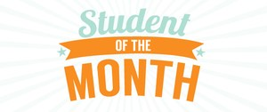 Student of the month in blue and orange text