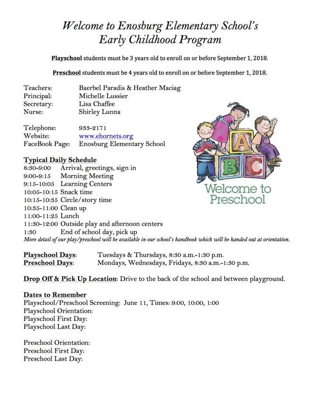 Information regarding Early Childhood Program