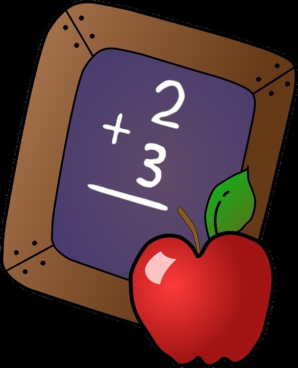 Black board with 2 + 3 written on it and an apple in front of the white board.