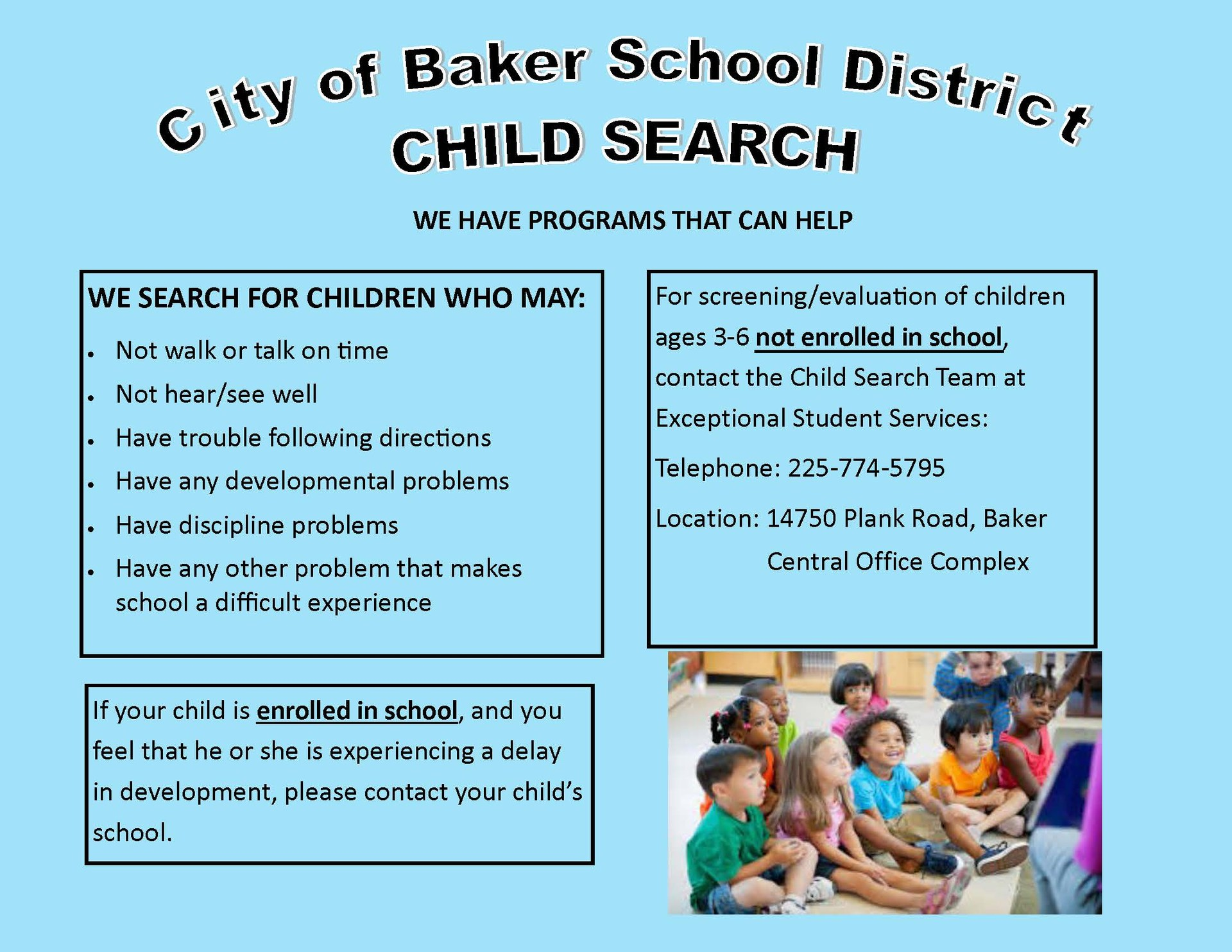 Graphic with information about Child Search in Baker Schools