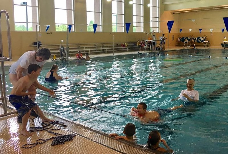 YMCA Pool with kids learning to swim