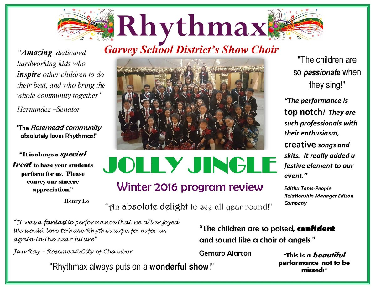 Rhythmax Show Choir Quotes - Winter Programs 2016
