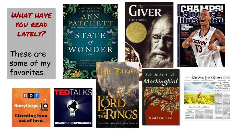 Collage of some of Mrs. Persico's favorite things to read. They include: The Lord of the Rings, To Kill a Mockingbird, The Giver, Sports Illustrated and several newspapers.