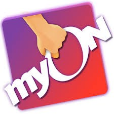 Hand holding the myON logo
