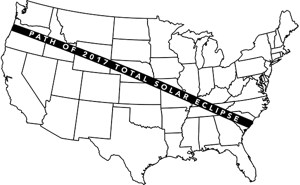 Diagram of the United States with the pathway of visibility of the total solar eclipse on August 21, 2017.