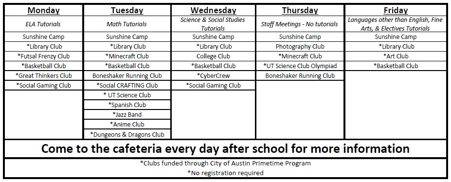 Fulmore After School Club Schedule