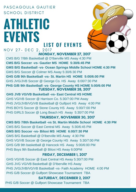 Athletic Events for Week of November 27, 2017