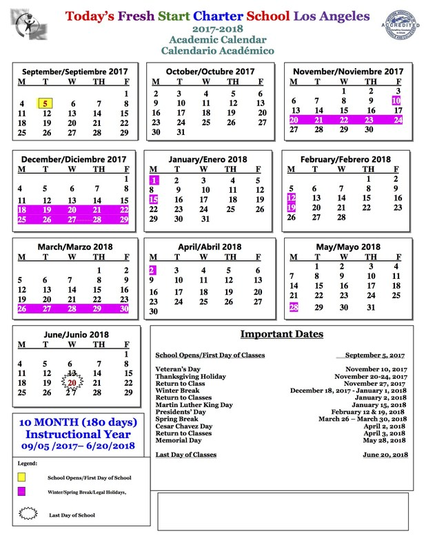 Calendar for School Year 2018