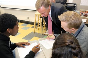PHOTO / KEITH CARTWRIGHT Tennessee Gov. Bill Haslam asks questions and interacts with students while observing Dr. Kyle Prince's Algebra II class at Central Magnet School.