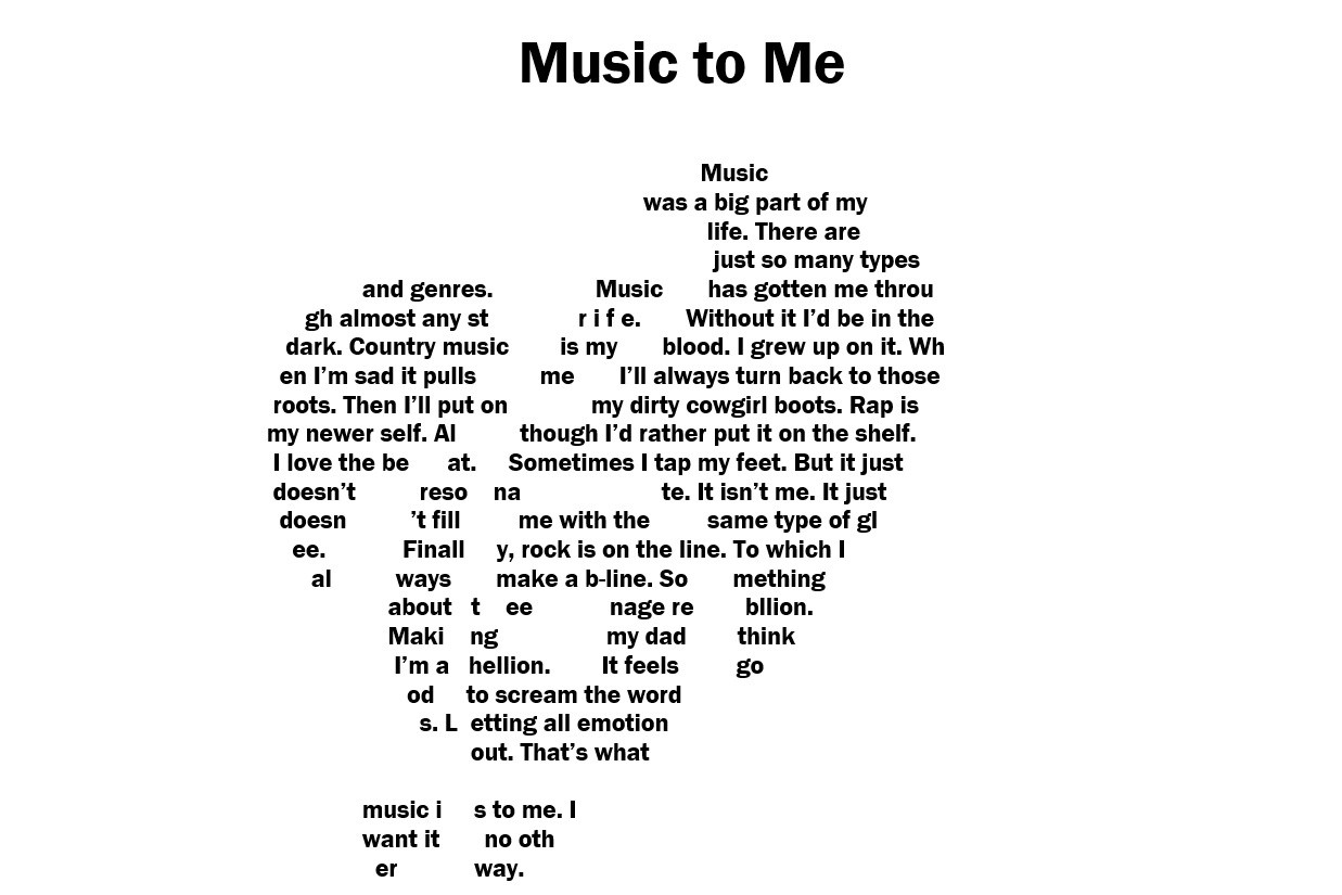 Concrete poem - musical note in heart