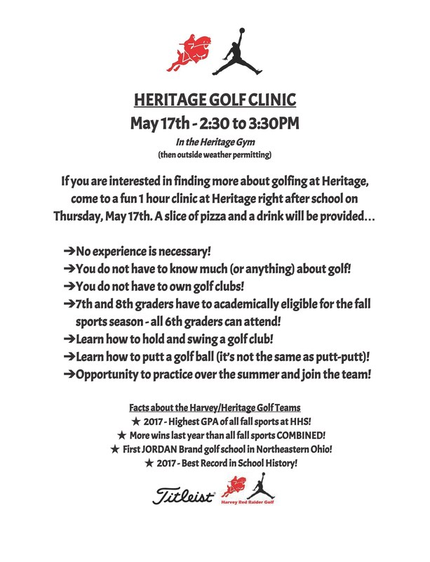 Heritage Golf Clinic: May 17th, 2:30 - 3:30 Thumbnail Image