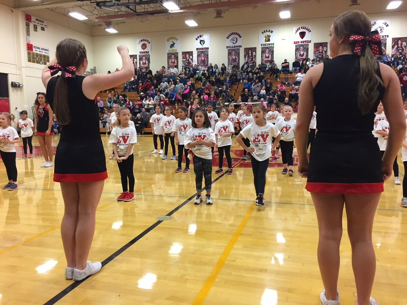 Kinder-5th grades students participated in Lil Devil Cheer Camp at EVHS