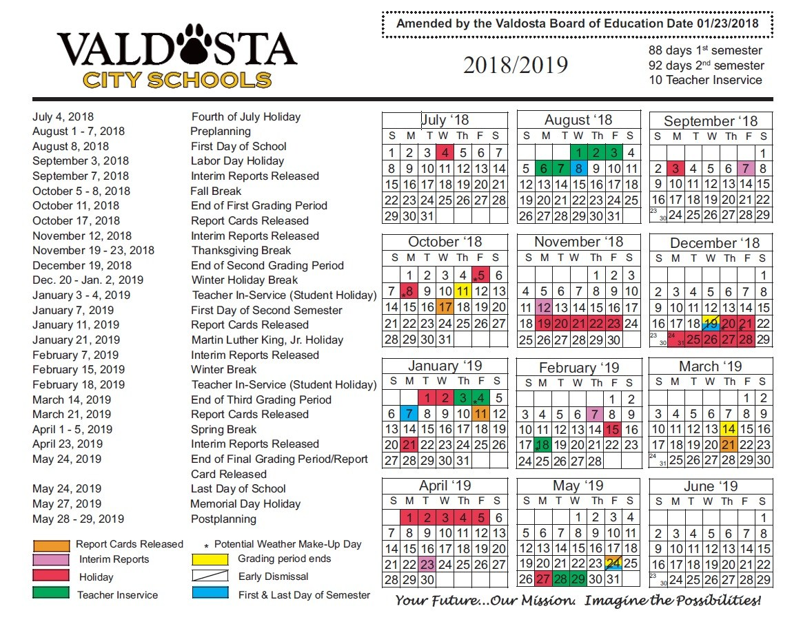 2018 - 2019 Official Amended Academic Calendar