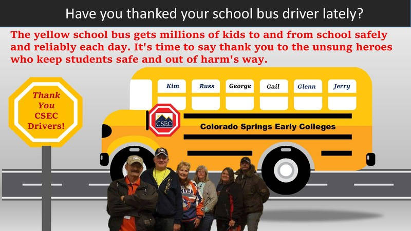 Picture of the CSEC bus drivers with a cartoon school bus behind them.  Text reads, thank your bus drivers!