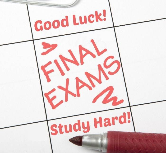 A calendar with the words Final Exams, Study Hard!