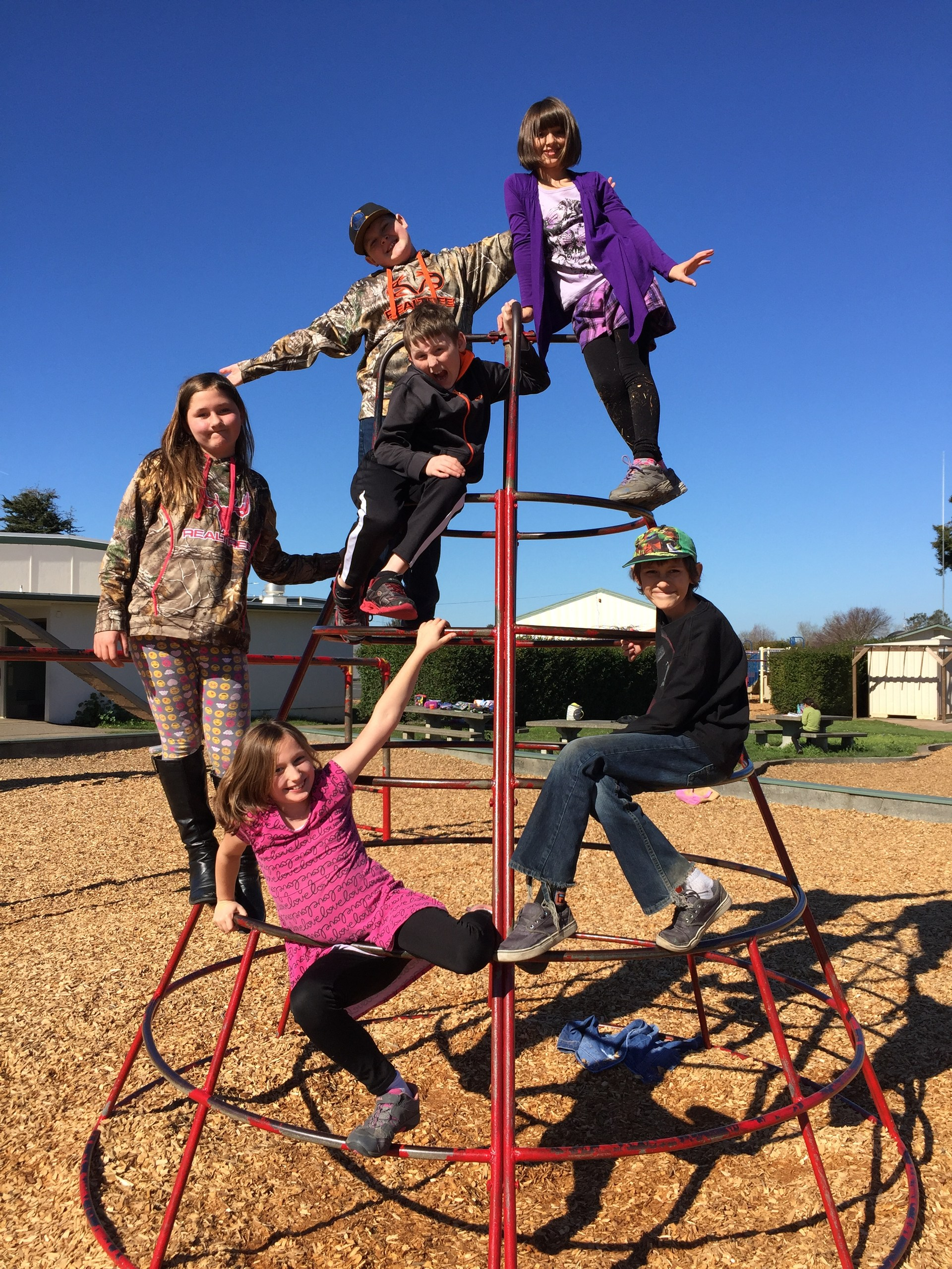 group of student in the play structure