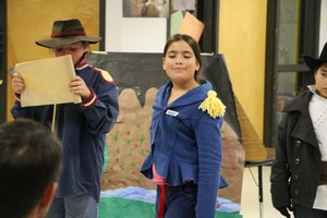 A student pretends to be Major Stephen Long at night at the museum.