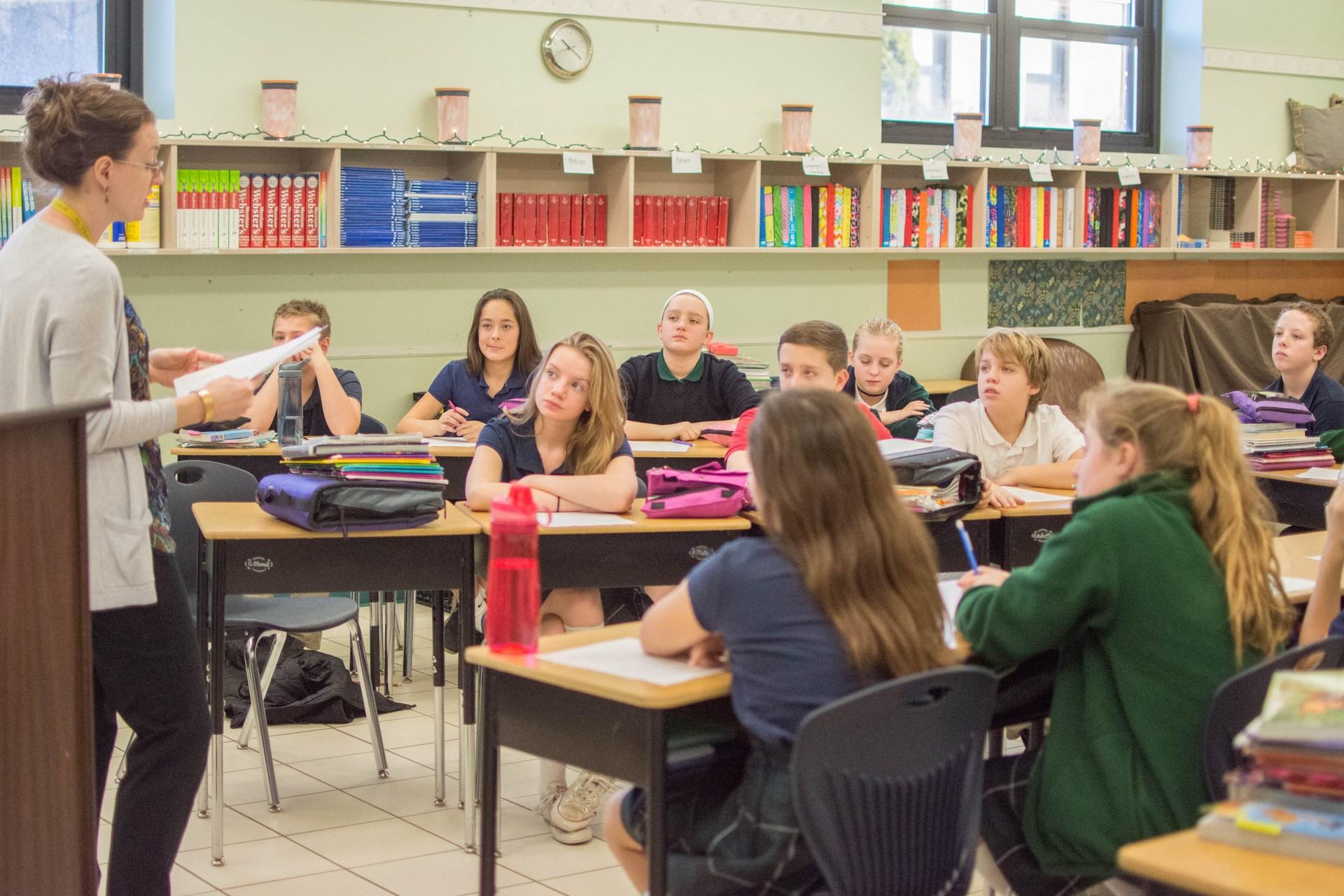 Middle School Hallway Students