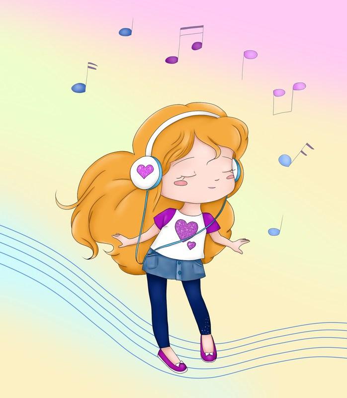 Cartoon Image of Girl Dancing